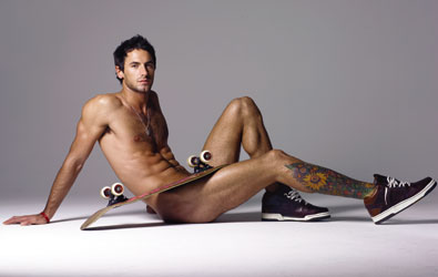 sexy naked hot guy with a skateboard