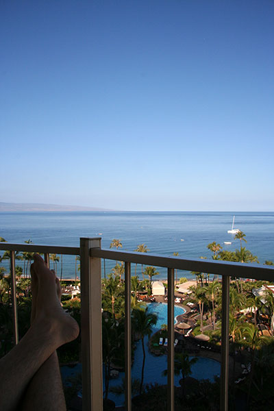 View from the balcony of my resort; feet up on the railing