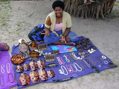 Woman with items for sale