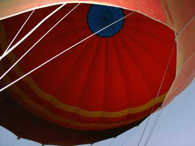 looking up into the balloon